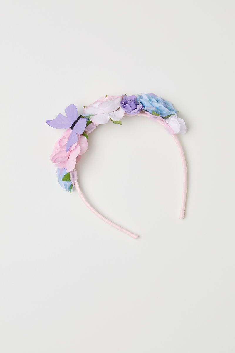 Alice Band With Flowers Light Pink Kids Hm Za