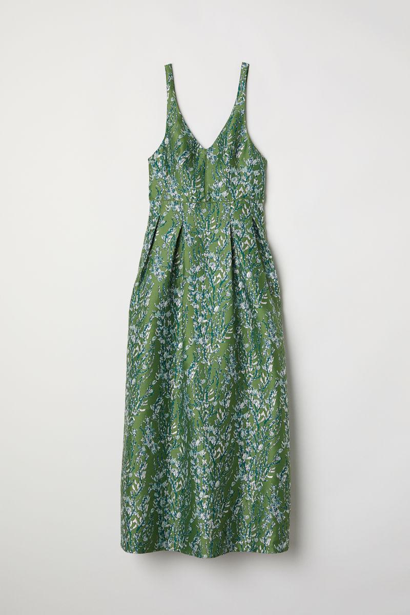 Kleid aus Jacquardstoff | Grün | DAMEN | H&M DE