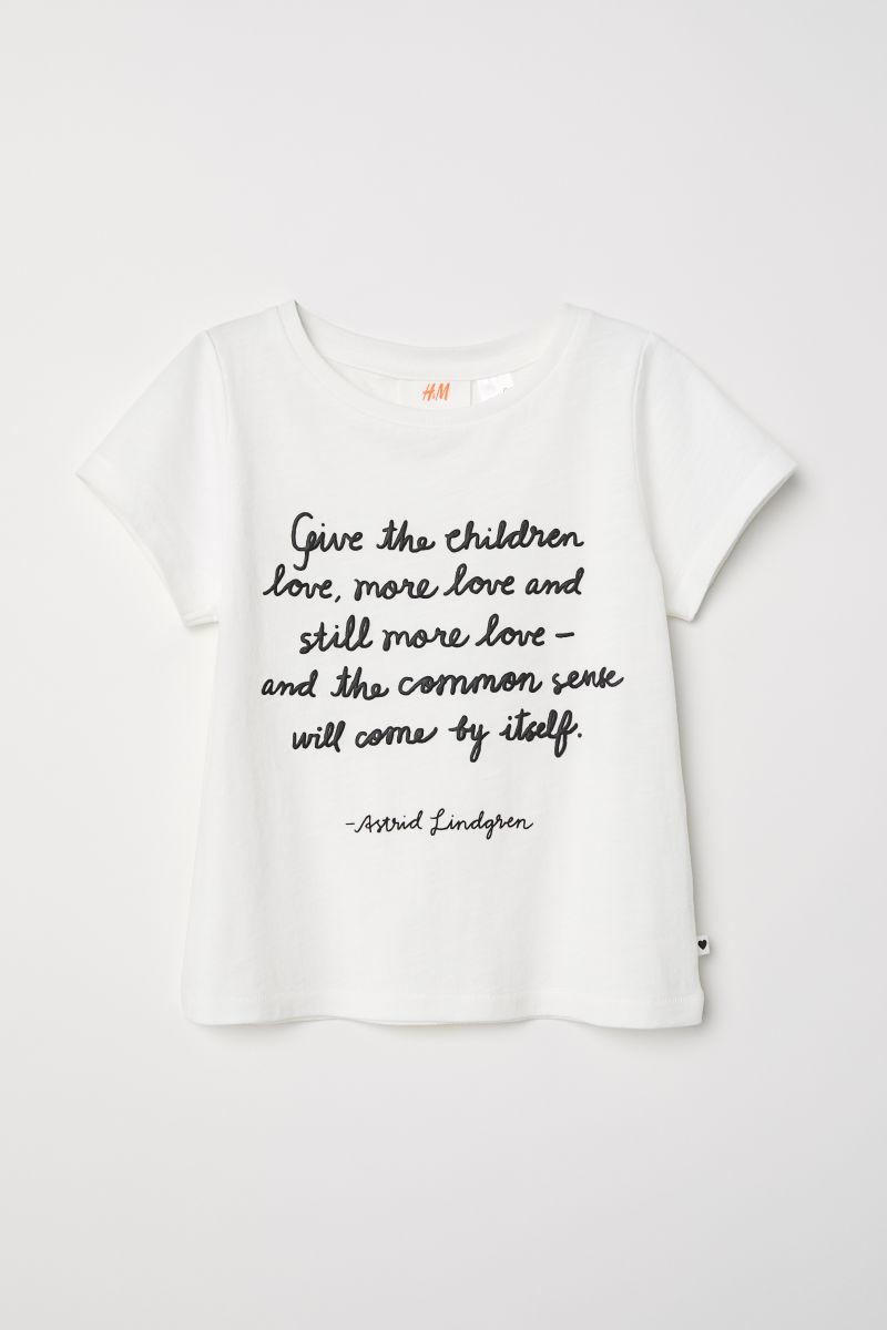T-Shirt mit Textdruck | Weiß/Astrid Lindgren | KINDER | H&M DE