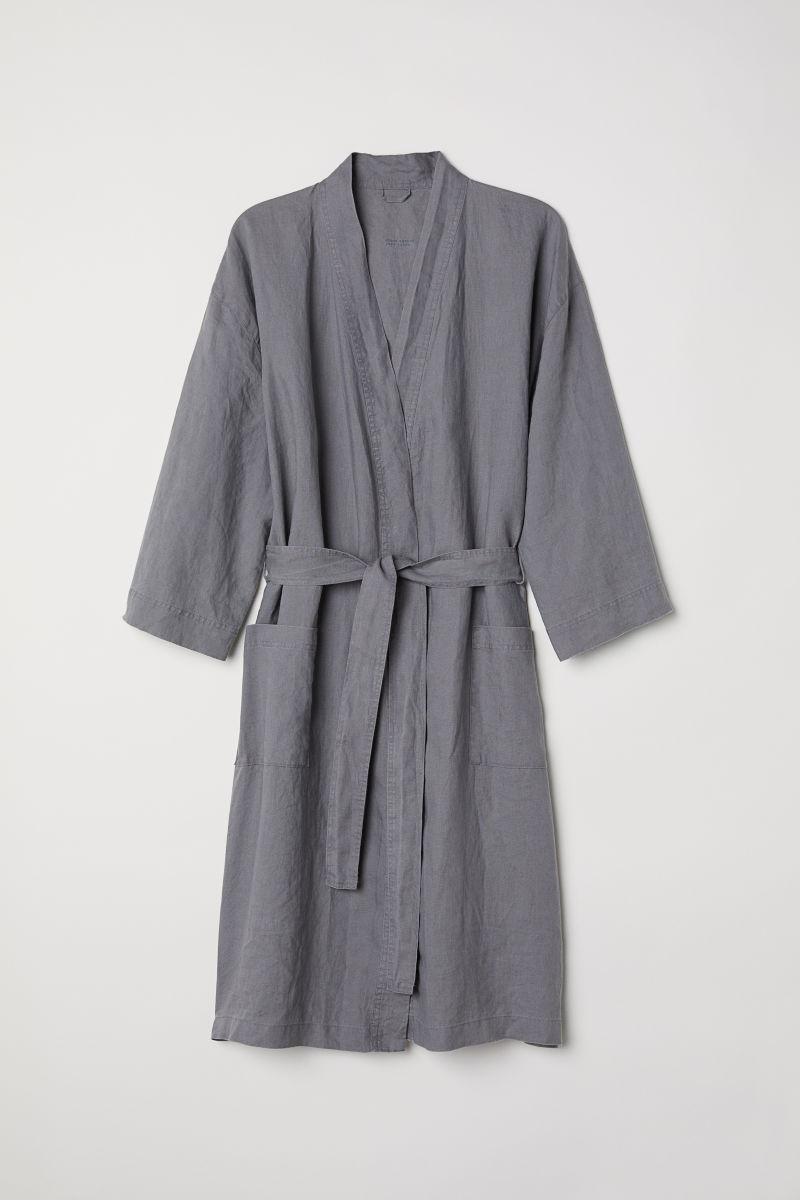 Washed linen dressing gown | Grey | H&M HOME | H&M AU