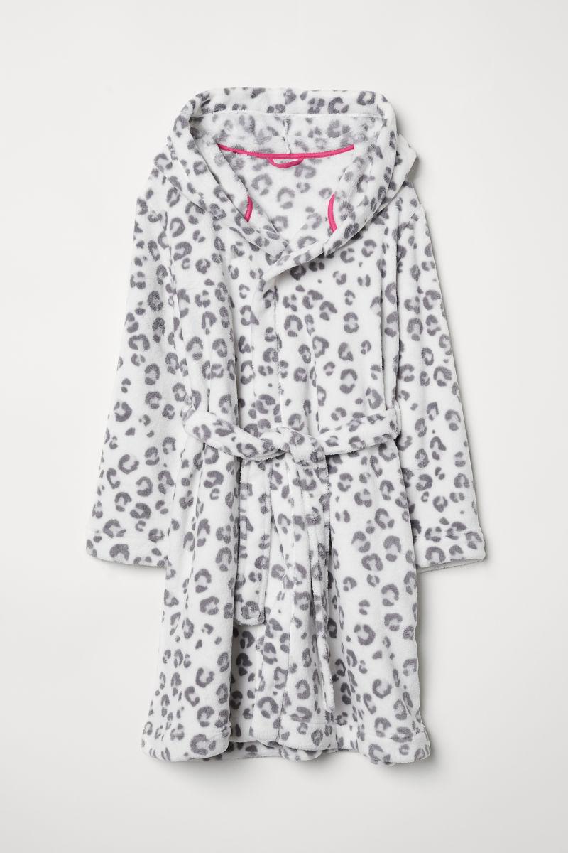 Fleece dressing gown | White/Leopard print | KIDS | H&M OM