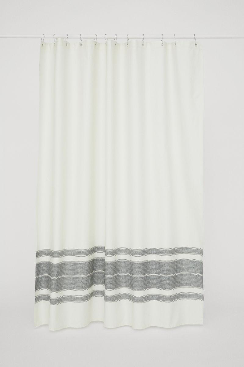 Duschvorhang aus Baumwolle   Weiß/Gestreift   H&M HOME   H&M DE