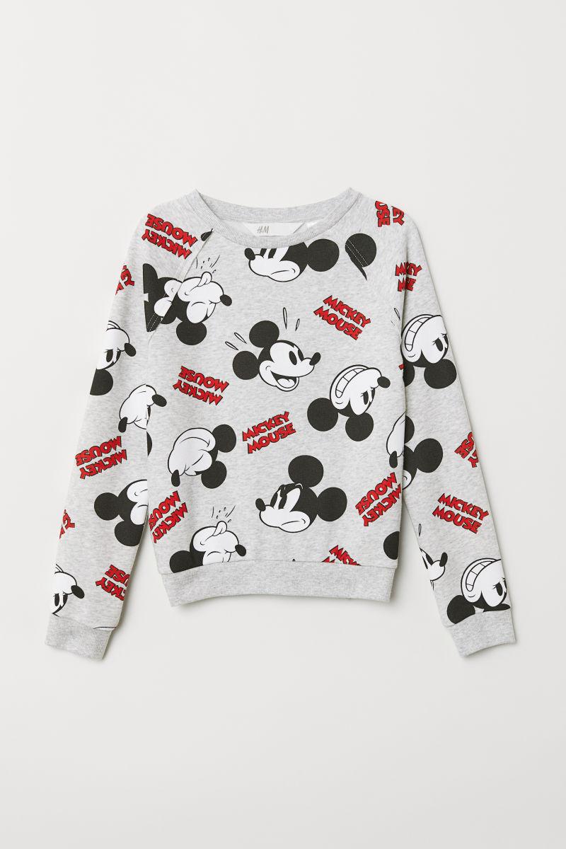 Sweatshirt With A Motif Light Grey Mickey Mouse Kids Hm Is Long Hem Denim