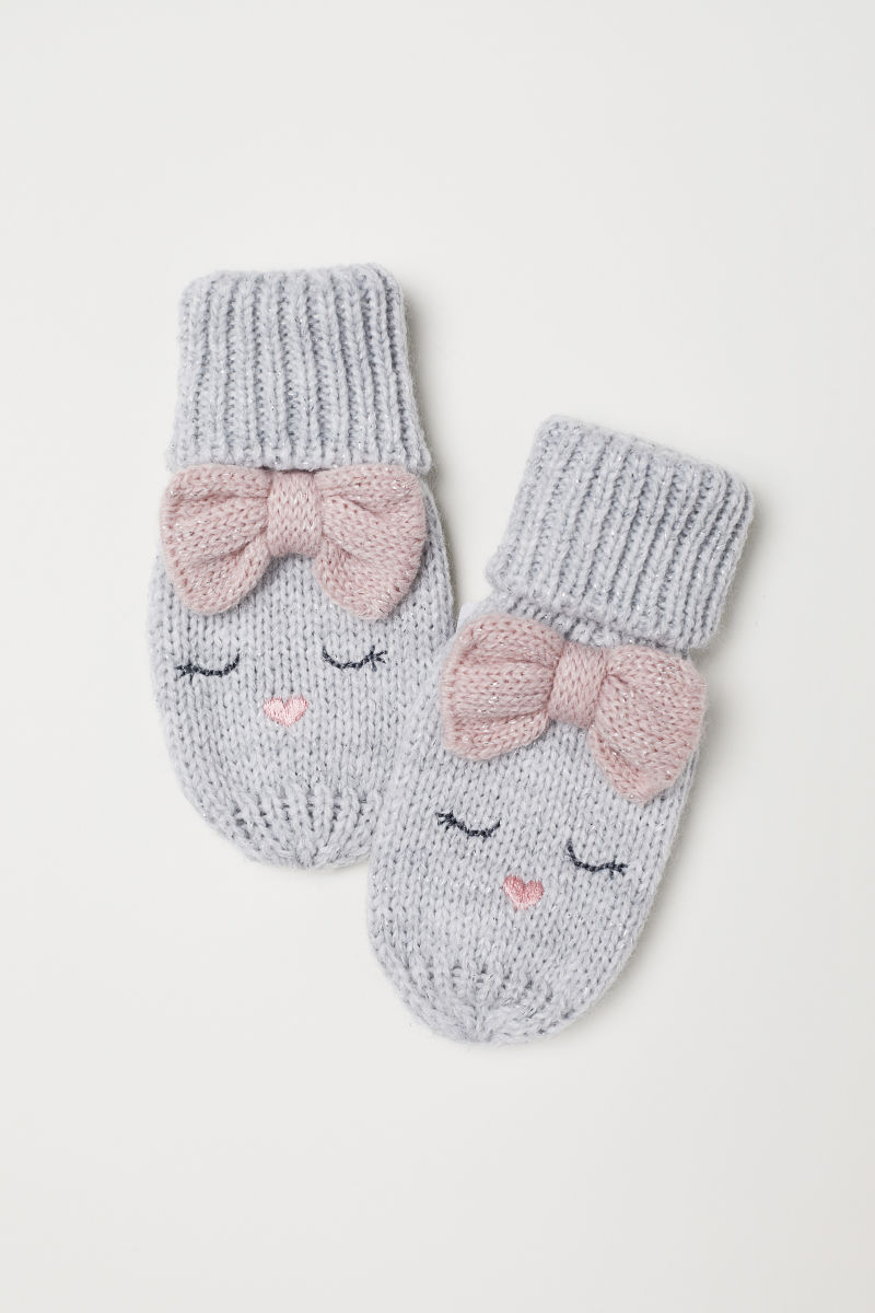 Knitted mittens | Light grey marl | KIDS | H&M IS