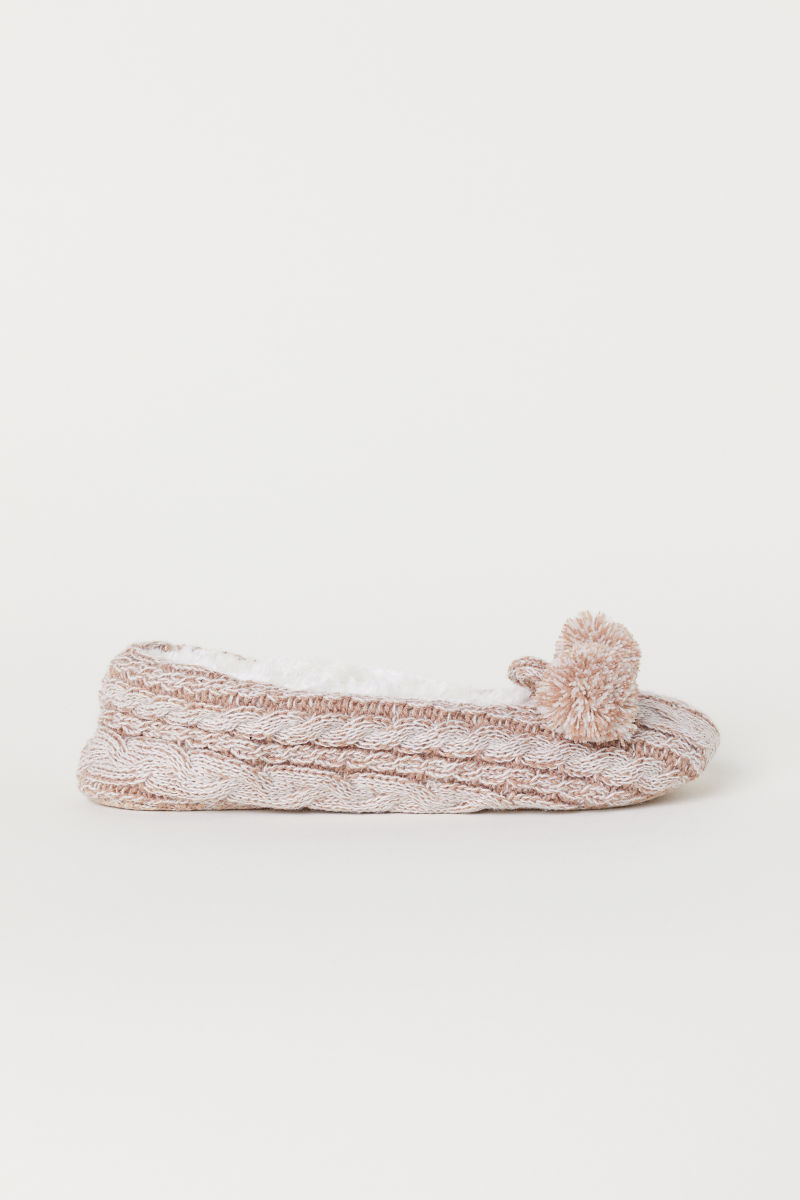 Cable Knit Slippers Dark Beige Marl Ladies Hm Is