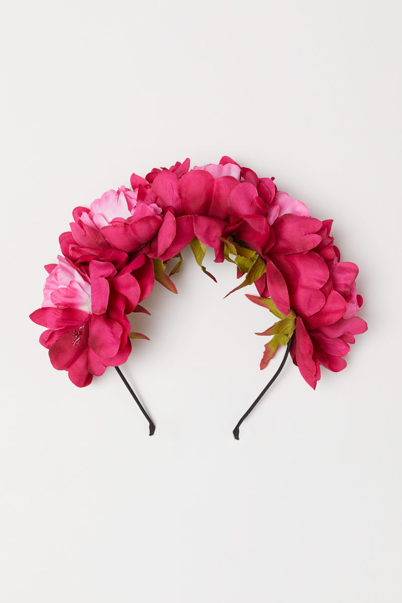 Alice Band With Flowers Dark Pink Ladies Hm Is