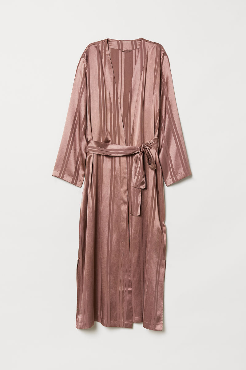 Satin dressing gown | Dark pink | H&M HOME | H&M IS
