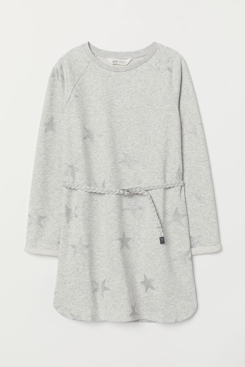 Kleid Mit Gurtel Hellgraumeliert Sterne Sale H M De