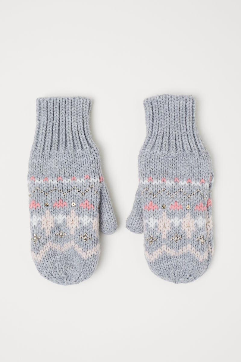 Knitted mittens | Grey marl | KIDS | H&M IS