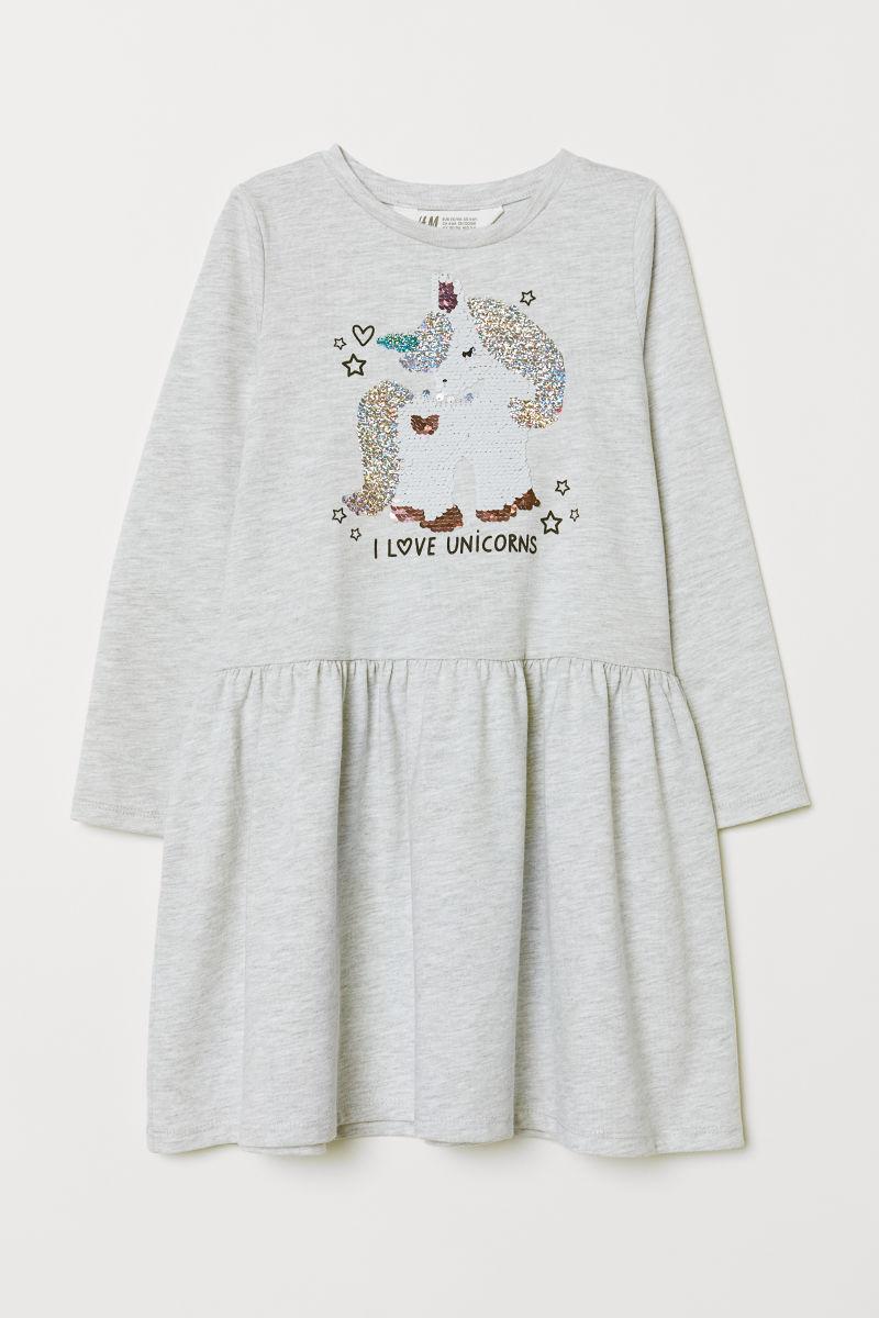 Kleid Mit Pailletten Hellgraumeliert Einhorn Sale H M De